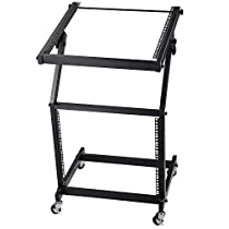 AW DJ Rack Mount Studio Mixer Stand Stage Cart w/ Wheel Adjustable Music Equipment Party Show 9UX