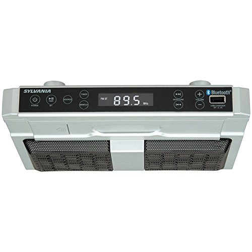 Sylvania SKCR2810BT Under Cabinet Clock Radio, Music System with Bluetooth Streaming and FM Radio (Renewed)