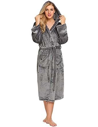 Ekouaer Women Fleece Robe Hooded Bathrobe Long Plush Microfiber Sleepwear with Pockets Dark Grey