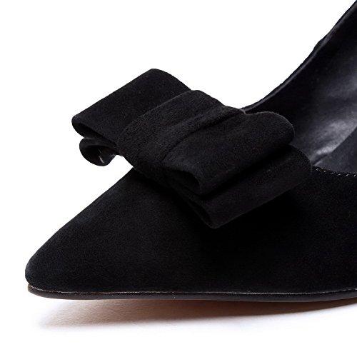 AllhqFashion Mujeres Tacón Medio Esmerilado Slip-on Puntera Cerrada Zapatosde Tacón Negro