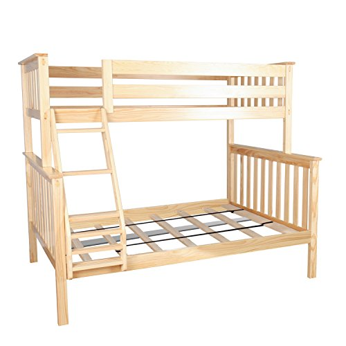 Max & Lily Solid Wood Twin over Full Bunk Bed, Natural