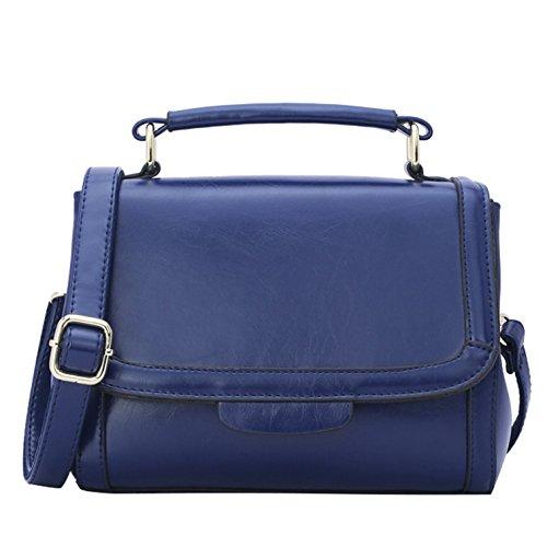 Classic Mini Satchel (YIJI Women's Classic Color-Blocking Mini Satchel Handbag L, Color Blue)