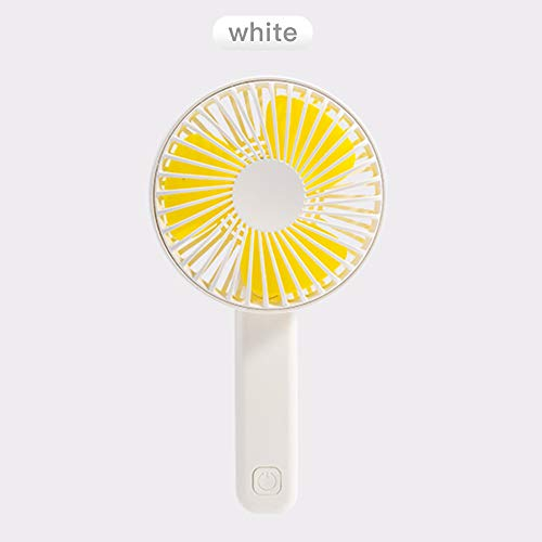 Morenitor Handheld Fan Folding, Portable USB Rechargable Mini Hand Fan 180° Rotate Table Fans with 3 Speeds Adjustable Personal Fan for Traveling Outdoor Office Home (White Yellow) -