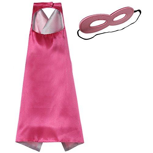 [So Sydney Superhero Princess SOLID Color CAPE & MASK SET Kids Halloween Costume (Hot Pink & Pink)] (Pink Costumes Cape)