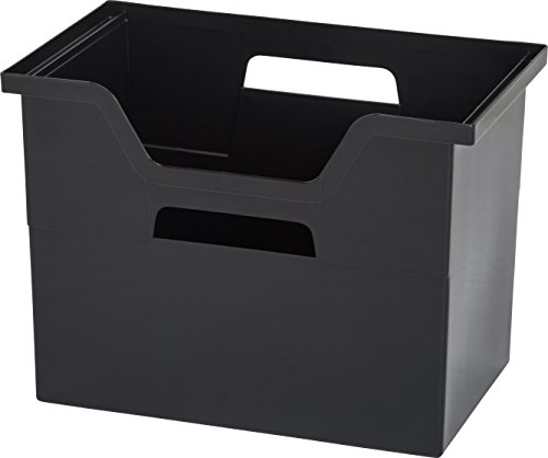 IRIS Desktop File Box, 4 Pack, Large, (Black Plastic Desktop)