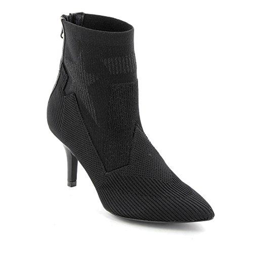 bout talon jacquard By cm shoes noir à pointu 8 hautes en de Bottines Alesya Shoes fqCg8