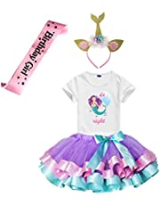 Charmbow Girls Lavender Tutu Dress with Mermaid Birthday Tshirt & Headband, 3-8 Years