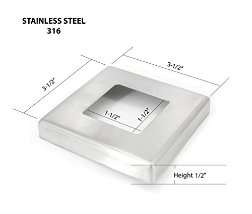Stainless Steel Base Cover - Stainless Steel 316 Small Base Flange Square Cover for 1-1/2