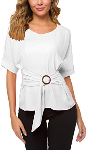 ACONIYA Womens Tie Knot Casual Belted Blouse Elegant Long/Short Sleeve Shirt Work Tunic Tops (White, 2XL)