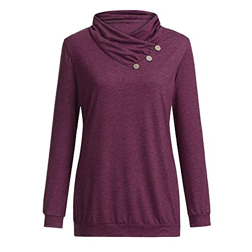 V Tops Tee shirt Pullover Femme Tunique Sexy S shirt À Longues Sweat Sport Shirt Roulé Fittness Taille Xxl taille Pull Vin Lâche Col Chic Grande Qinmm Cassual Rouge T Manches Button Chemise zdwUqaxd1