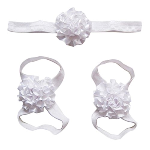 Elevin(TM) Newborn Baby Soft Handmade Flowers Barefoot Sandals and Headdress Three Suit (white)