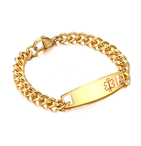 Free Engraving- Gold Plated Stainless Steel Non Allergenic Chain Medical Alert Identification Bracelets,7