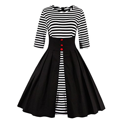 Ezcosplay Womens Vintage Striped Cocktail product image