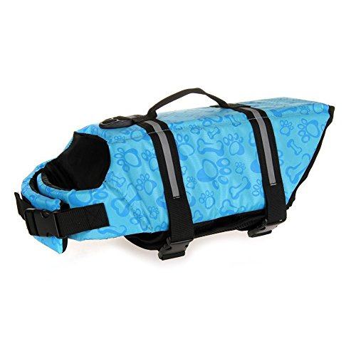 Preserver Dog Aquatic Pet - Dog Life Jacket Aquatic Pet Safety Preserver Vest with Reflective tape (XXL, Blue Bone)