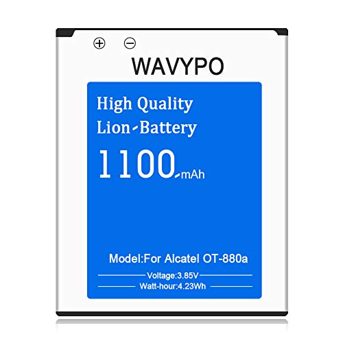 Alcatel OT-880a Battery, Wavypo 1100mAh Li-ion Replacement Battery CAB3120000C1 Spare Battery for Alcatel OT-880a [24 Months Warranty] ()