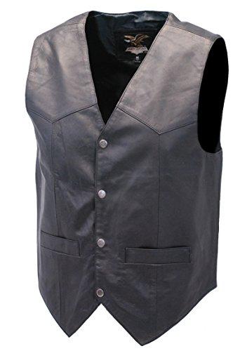 Jamin' Leather Premium Black Dress Lambskin Leather Vest for Men (XL) ()