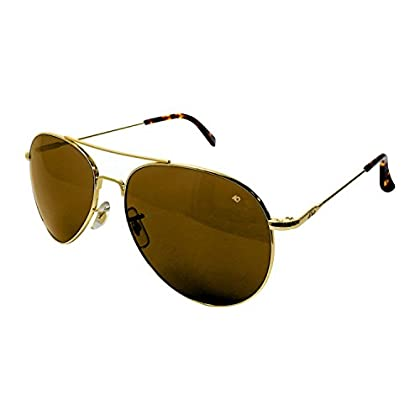 Image of Safety Glasses AO Eyewear American Optical - General Aviator Sunglasses with Wire Spatula Temple and Gold Frame, High Contrast Amber Polycarbon​ate Lens