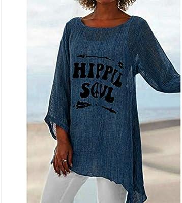 SMILEQ Tops de Las Mujeres de Verano más el tamaño Hippie Soul impresión de la Letra Camiseta de Manga Larga de Lino Holgado túnica Blusa (XXXL, Azul): Amazon.es: Deportes y aire libre