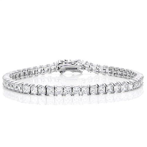 - GemStar USA Princess-Cut Sparkling 3x3mm Cubic Zirconia Classic Tennis Bracelet