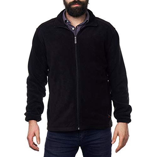 alpine swiss Trent Mens Full Zip Up Fleece Jacket Black ()