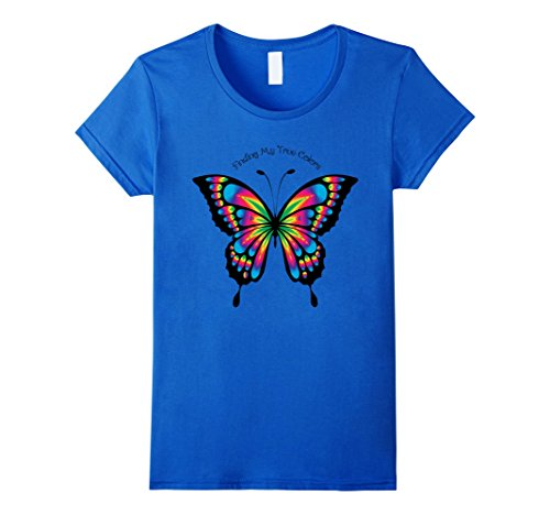 Blue Butterfly Womens T-shirt (Womens Butterfly T-Shirt For Women Girls Clothing Large Royal Blue)