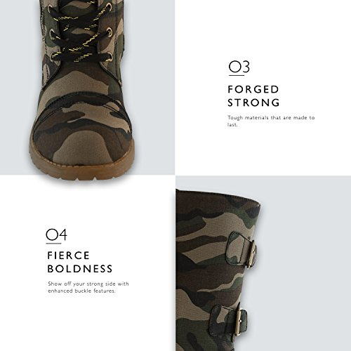 Pocket Knee Military Exclusive Combat Credit Mid Up Cv Buckle PU Women's Boots Card Premium Camouflage High BwPxB