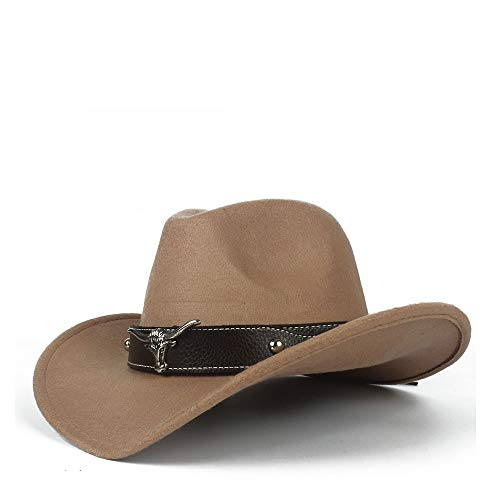 Women's Equestrian Cap Comfortable Dakota Crushable Wool Felt Western Cowboy Casual Hat Style (Color : Brass, Size : 56-58cm) ()