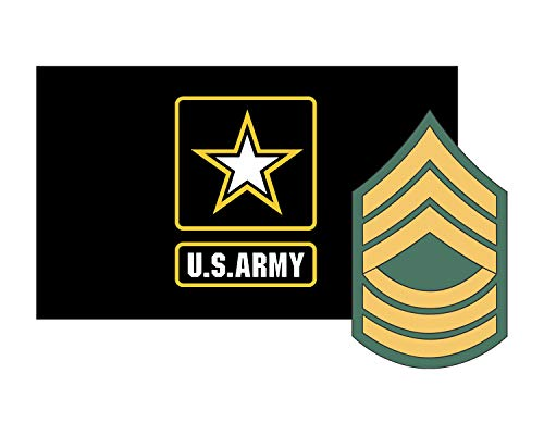Morale Tags Army Flag w/MSgt Rank Master Sergeant Vinyl Deca