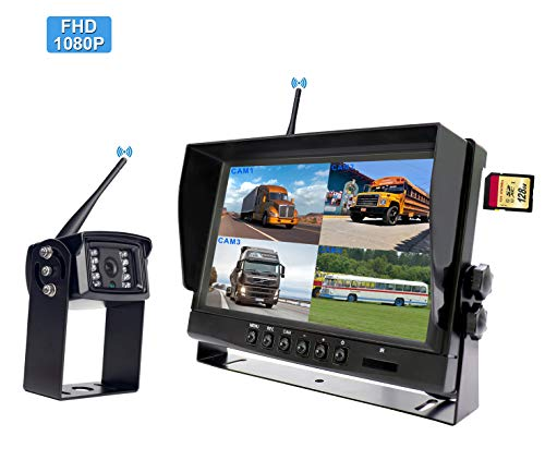 12V 24V Heavy Duty Vehicle Truck Bus Backup Camera System,Waterproof Night Vision Rear View Camera with 7 inch Monitor+66ft 4 PIN Camera Cable for Bus Truck Van Trailer RV Campers Motor Home