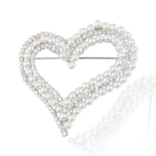 EVER FAITH Bridal Silver-Tone Dual Simulated Pearl Heart Clear Austrian Crystal Brooch