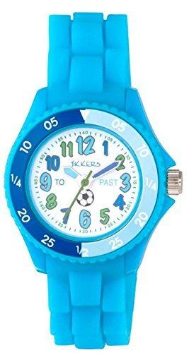 Para niños para aprender la hora Tikkers azul de goma/correa de silicona reloj NTK0006 diseño de balón de fútbol: Amazon.es: Relojes