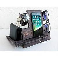 Best Boss Engraved Docking Station, Wooden Gift for Men - Desktop Organizer for Devices