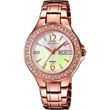 Casio SHE-4800PG-9AUER Ladies Sheen Rose Gold Tone Steel Bracelet Watch