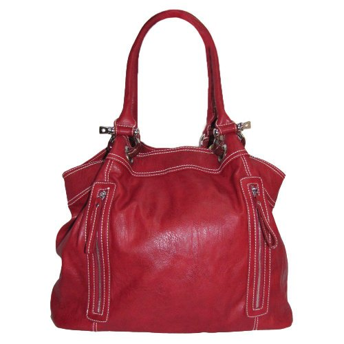 Large Zipper Tote Handbag (Red-old), Bags Central