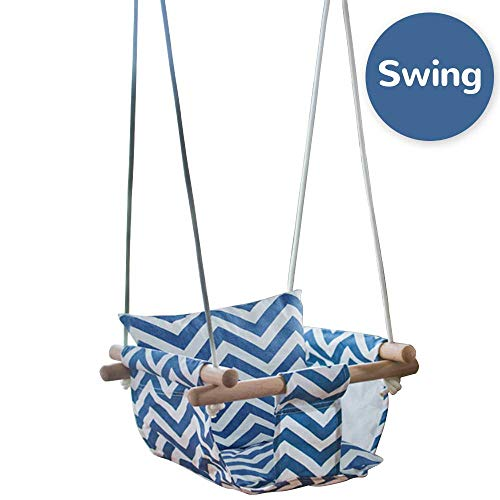 Wood Canvas Hanging Swing with Soft Cotton Cushions,Indoor&Outdoor Hammock Swing for Toddler