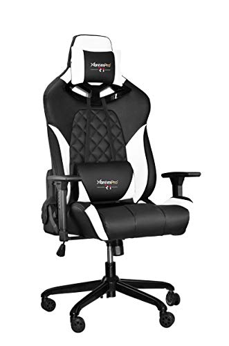 (XtremPro 22043 R1 Gaming Chair with RGB Lighting Racing Style Seat - Black White)