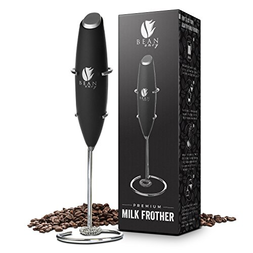 Latte Milk Frother (Bean Envy Electric Milk Frother Handheld, Perfect for the Best Latte, Whip Foamer, Includes Stainless Steel Stand)