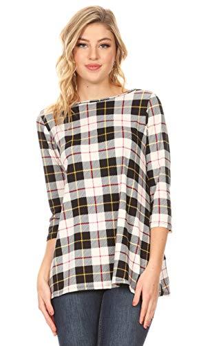 - Simlu Womens Tunic Tops for Leggings Reg and Plus Size 3/4 Sleeve Tunic Shirt-USA (Size Large, Black Ivory Plaid)