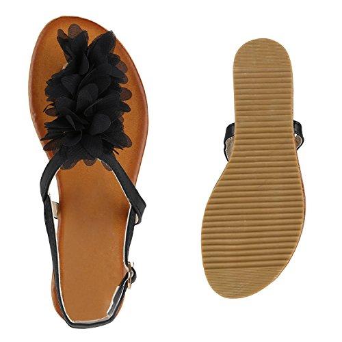 Stiefelparadies Damen Sandalen Zehentrenner Blumen Sommerschuhe Flats Damenschuhe Übergrößen Gr. 36-42 Flandell Schwarz
