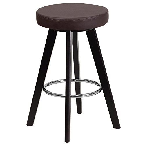 (Flash Furniture Trenton Series 24'' High Contemporary Cappuccino Wood Counter Height Stool with Brown Vinyl Seat)