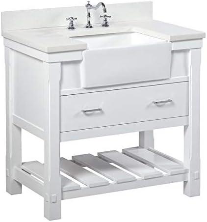 Amazon Com Charlotte 36 Inch Bathroom Vanity Quartz White Includes White Cabinet With Stunning Quartz Countertop And White Ceramic Farmhouse Apron Sink Home Improvement