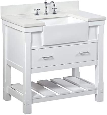 Charlotte 36-inch Bathroom Vanity Quartz/White : Includes White Cabinet