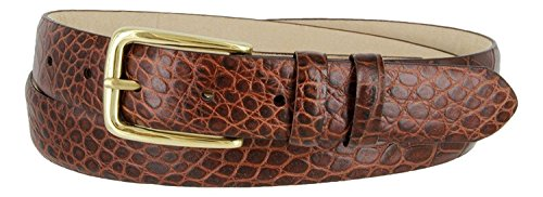 Andrew Genuine Italian Calfskin Leather Dress Belt for Men(Alligator Brown, 42)