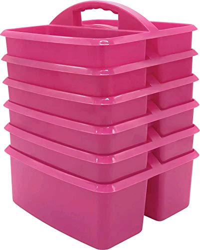 Pink Portable Plastic Storage Caddy 6-Pack for Classrooms, Kids Room, and Office Organization, 3 Compartment