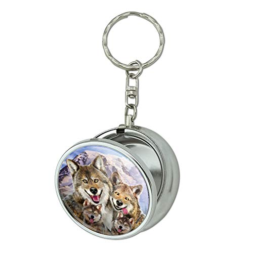 GRAPHICS & MORE Wolf Pack Selfie Family Wolves Portable Travel Size Pocket Purse Ashtray Keychain with Cigarette Holder