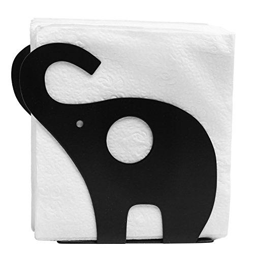 MyGift Galvanized Metal Elephant Shaped Napkin Holder, Tabletop Paper Towel Dispenser, Black