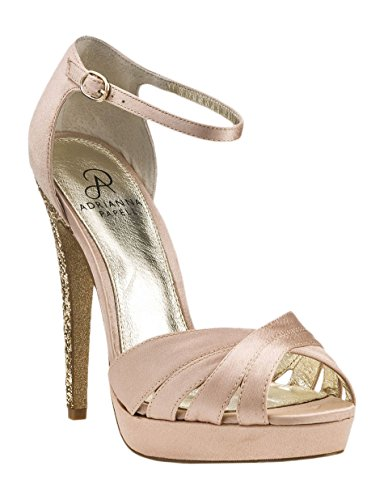 Adrianna Papell Women's Samoa Dress Pump, Nude Satin, Size 7.5 B(M)
