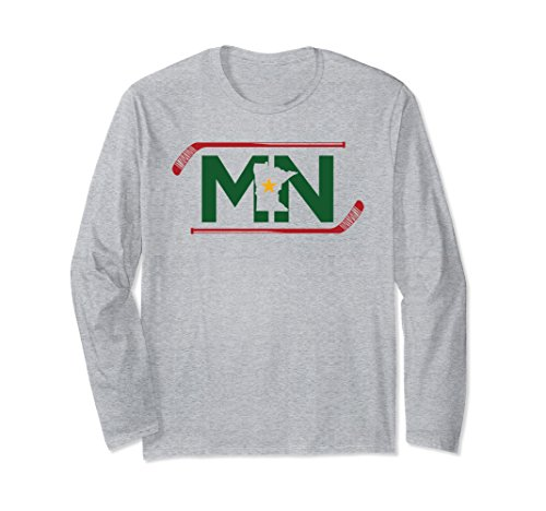 Unisex Mn The State Of Hockey T Shirt Unisex Long Sleeve Tees Large Heather Grey