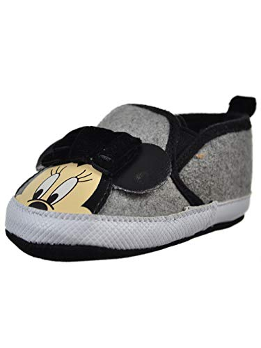 Disney Minnie Mouse Baby Infant Slip-On Sneaker Booties - Gray/Black, - Felted Baby Booties