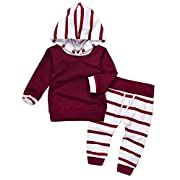 Imsmart Cute Newborn Baby Boy Girl Warm Hoodie T-Shirt Top + Pants Outfits Set Kids Clothes (80(6-12M), Wine Red)